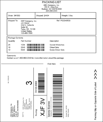 ConnectShip Custom Documents - packing label template