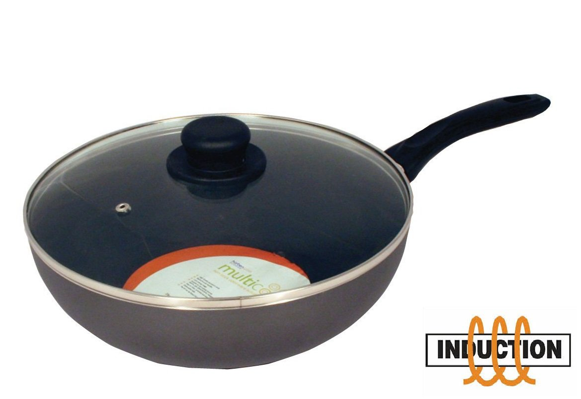 Induction Wok Non Stick Wok With Lid Suitable For Induction Hobs