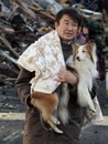Japan earthquake man with dog
