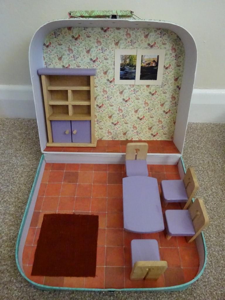 Dolls House Suitcase Dining Room Upcycled With Furniture Conscious Crafties