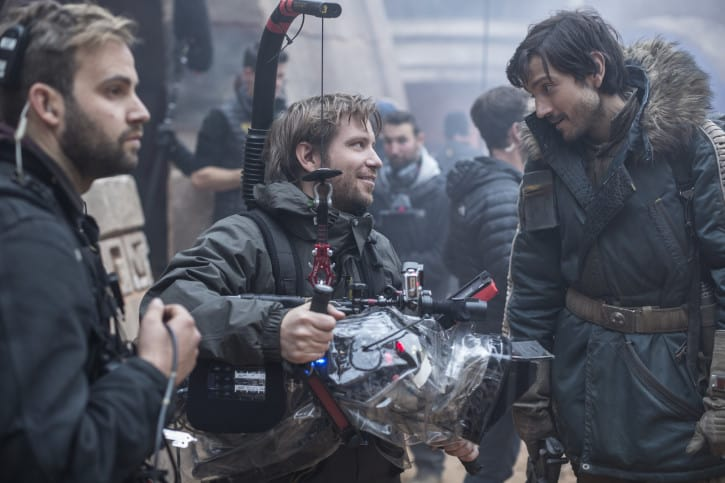Rogue One: A Star Wars Story..L to R: Director Gareth Edwards and Diego Luna (Cassian Andor) on set. ..Ph: Jonathan Olley..© 2016 Lucasfilm Ltd. All Rights Reserved.