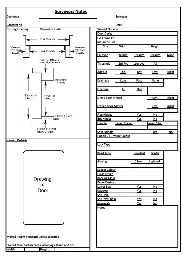 Do you have survey problems with Composite \ Upvc doors - site survey template