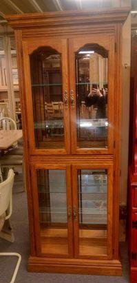 OAK CURIO CABINET | Delmarva Furniture Consignment