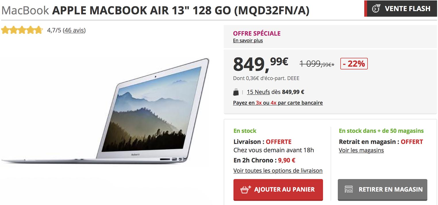 Darty 4 Fois Sans Frais Consomac Le Macbook Air 128 Go à 849 99 Chez Darty