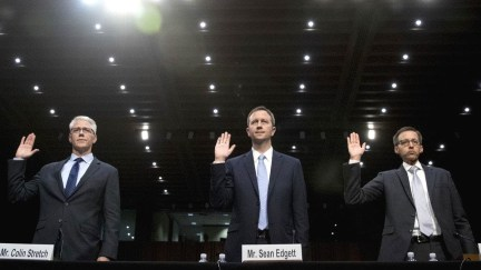 Executives from Facebook, Twitter and Google hauled before a Senate Judiciary subcommittee on crime and terrorism on Oct. 31, 2017.