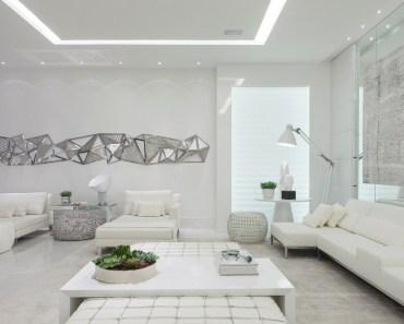 ambiente moderno com decoracao na cor branca