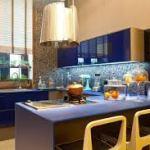 cozinha azul decoracao moderna e bonita