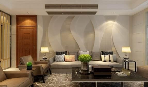 sala de estar com tapete estampado bege