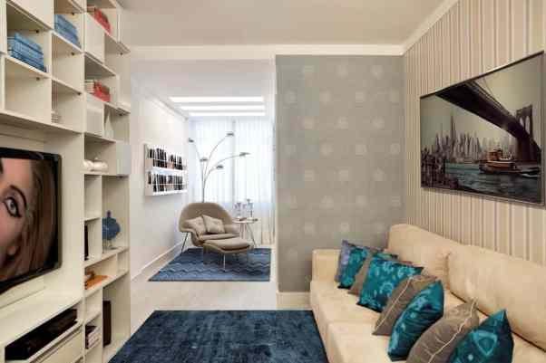 tapete para sala azul turquesa