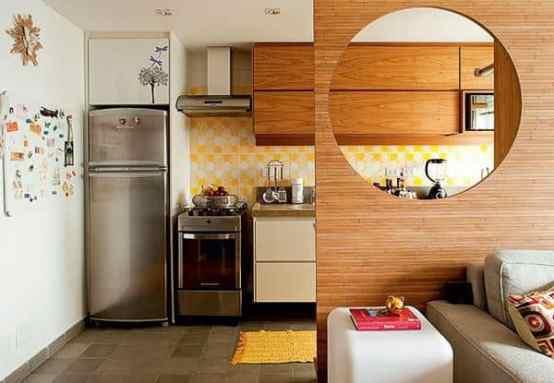 09 cozinhas pequenas integradas madeira