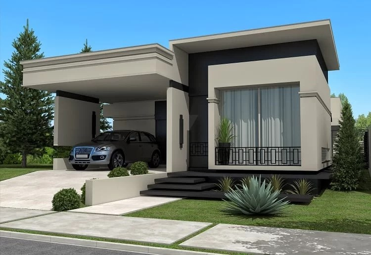 17 ideias de fachada para casas pequenas veja fotos for Modelos de fachadas modernas