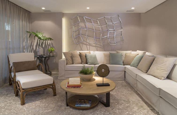 Sala Pequena Sofa De Canto ~ sala de estar com mesa de centro redonda e sofa de canto
