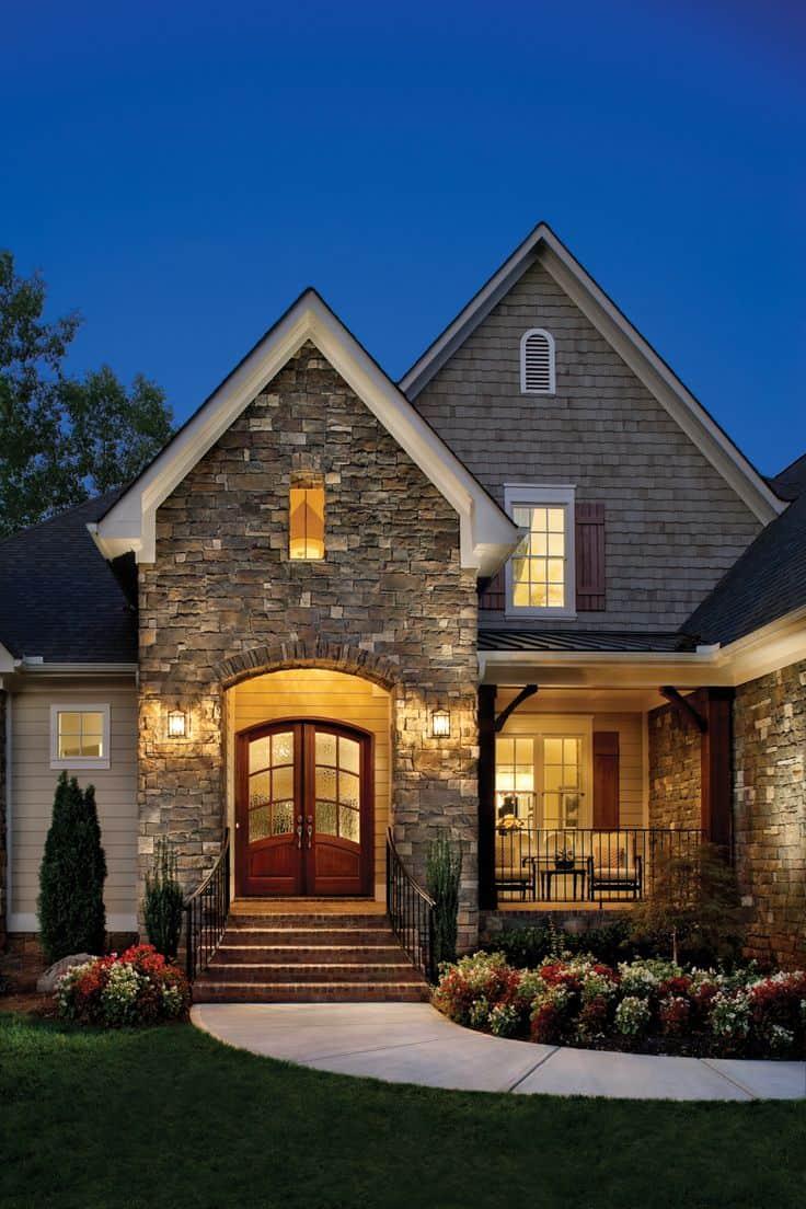 22 ideias para fachadas de casas r sticas com tijolos - Fachada de casas ...
