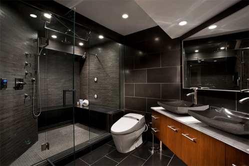 banheiro com porcelanato preto