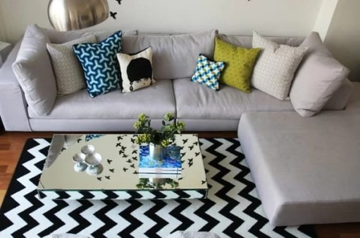 decoracao com tapete chevron