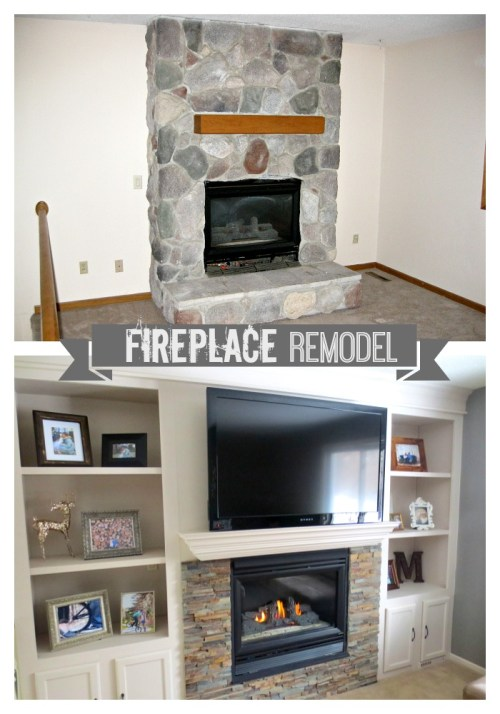 construction2style Fireplace Remodel featuring built in bookshelves, Jamie and Morgan Molitor, home renovation, mn home remodeler