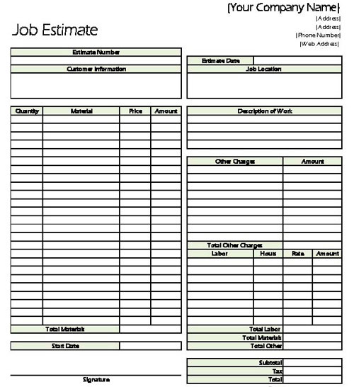 Estimate Form Free Download Job Estimate Template Sample Estimate - sample job sheet template