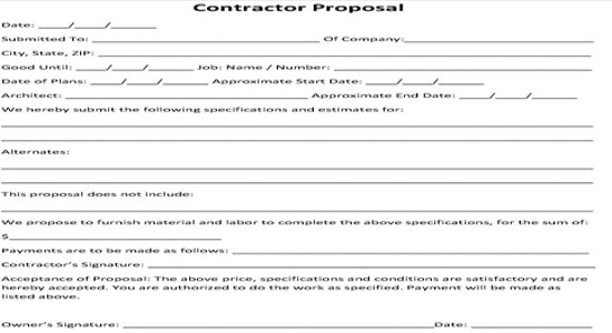 contractor s proposal forms free - Intoanysearch - Bid Proposal Template Free