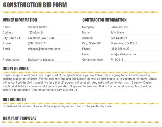 bid template for contractors - Josemulinohouse