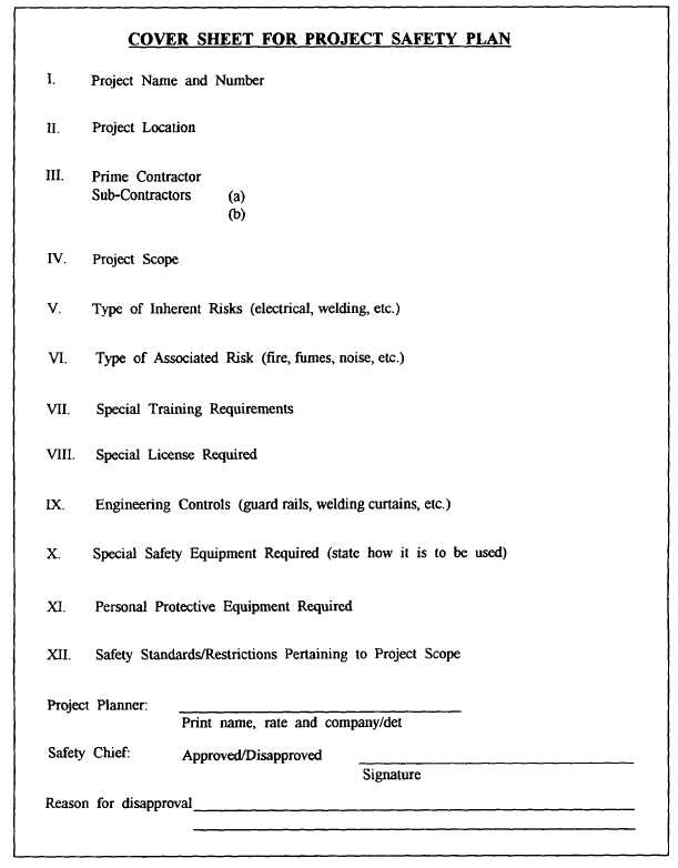 Figure 2-30-Cover sheet for project safety plan