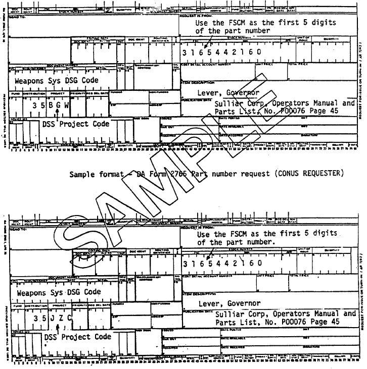 Sample format - DA Form 2765 Part number request (OCONUS REQUESTER) - da form