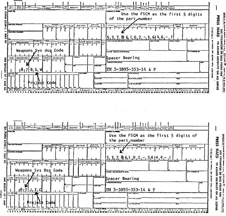 SAMPLE FORMAT - DA FORM 2765 PART NUMBER REQUEST - da form