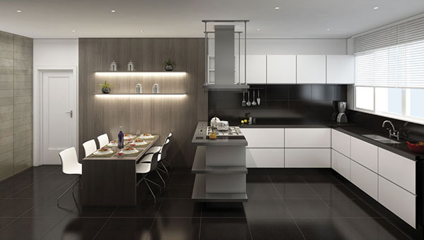 cozinha-piso-granito-negrojpg (600×340) Cocinas Pinterest
