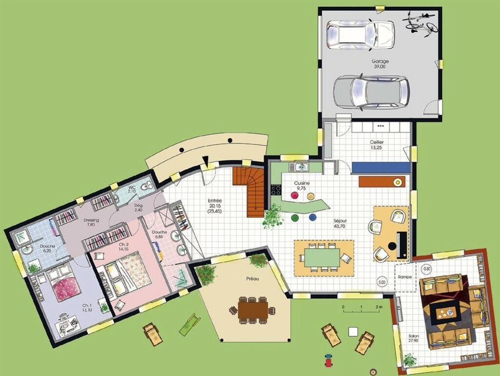 Plan De Villa De Luxe Gratuit | Pergola Maison Contemporaine à Toit ...