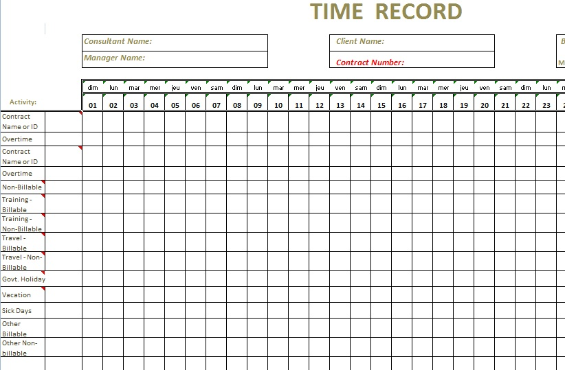 monthly timesheet template - free timesheet forms