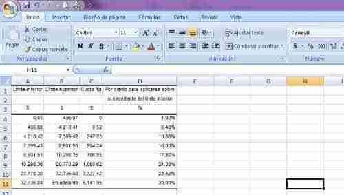 calcular ISR excel 1 thumb Como calcular el ISR por Salarios – Desde Nomina en Excel (Formula BuscarV)