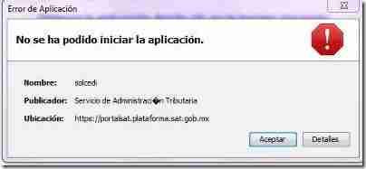 ERROR SOLCEDI thumb Problema con el Programa SOLCEDI del SAT– No se ha podido iniciar la aplicacion