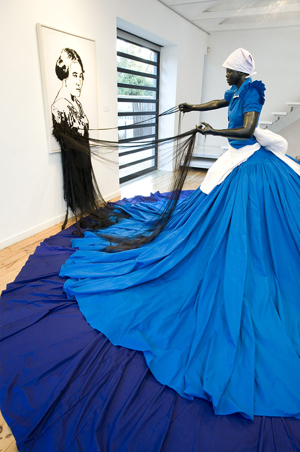 Mary Sibande Sophie-Velucia / Madame CJ Walker 2009 Mixed media installation including fibreglass figure, 100% cotton attire, synthetic hair, canvas The artist and Gallery MOMO Photo: courtesy the artist and Gallery MOMO