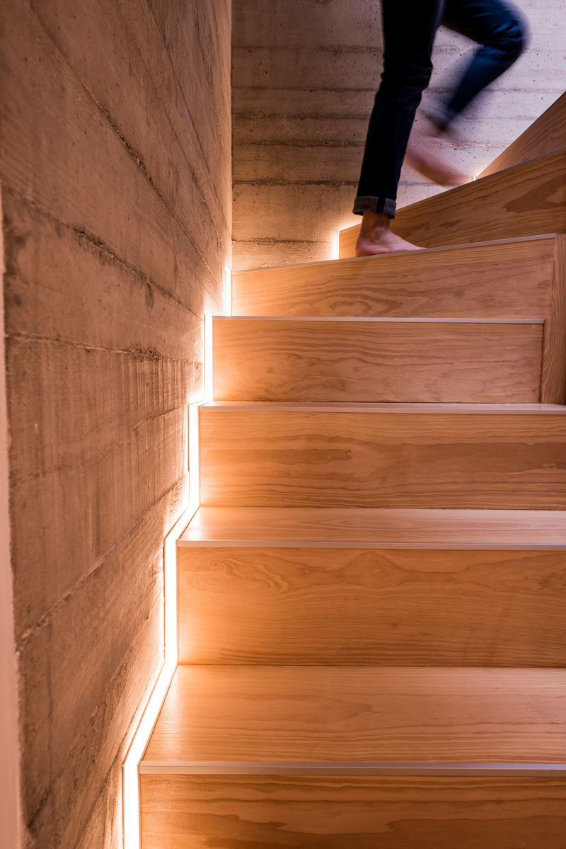 Low Voltage Led Outdoor Wall Lights Stair Design Idea - Include Hidden Lights To Guide You At Night | Contemporist