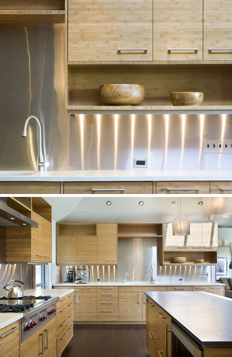 Pictures Of Backsplash In Kitchens Kitchen Design Idea Install A Stainless Steel Backsplash For A