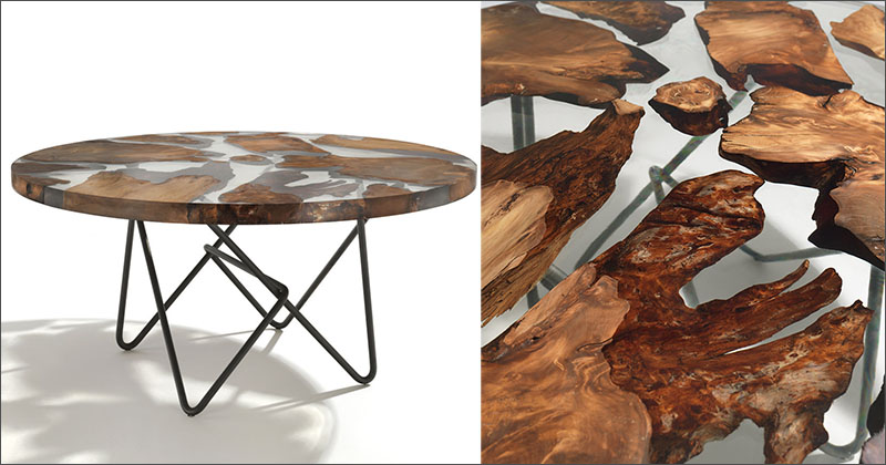 Wooden Art Meuble Ancient New Zealand Wood Was Combined With Resin To Create