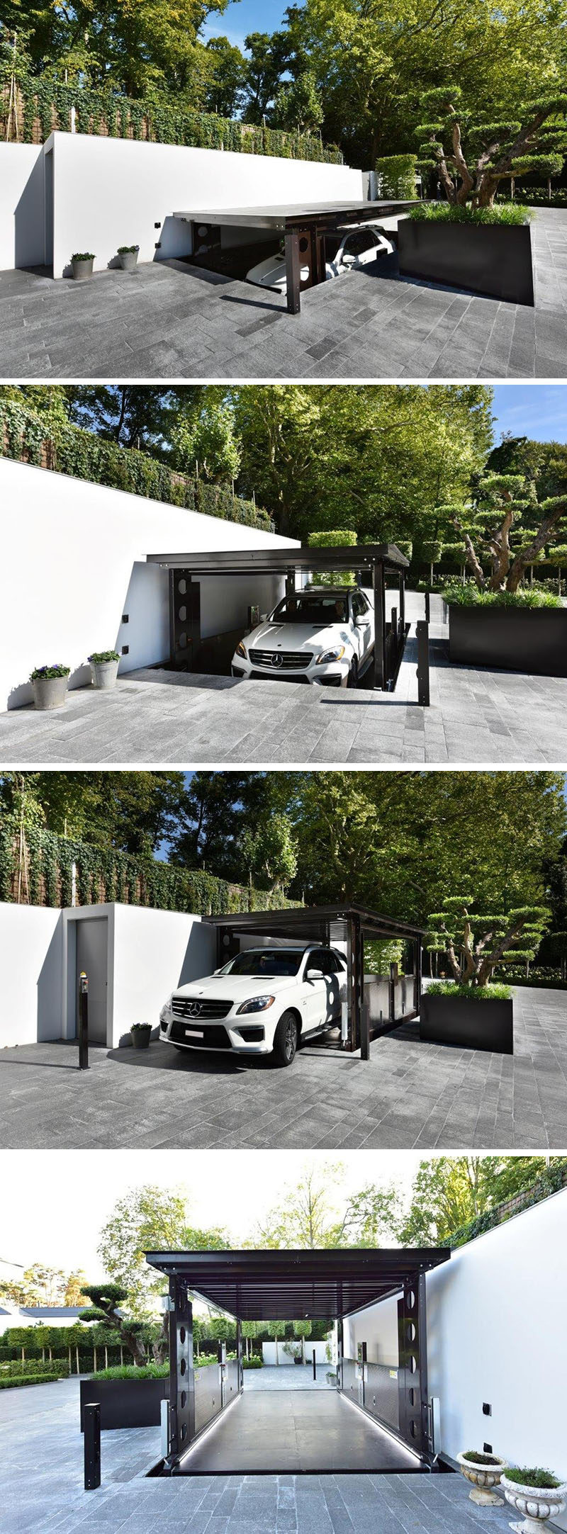 In Ground Garage Car Lift This Disappearing Garage Lowers Into The Ground And Becomes