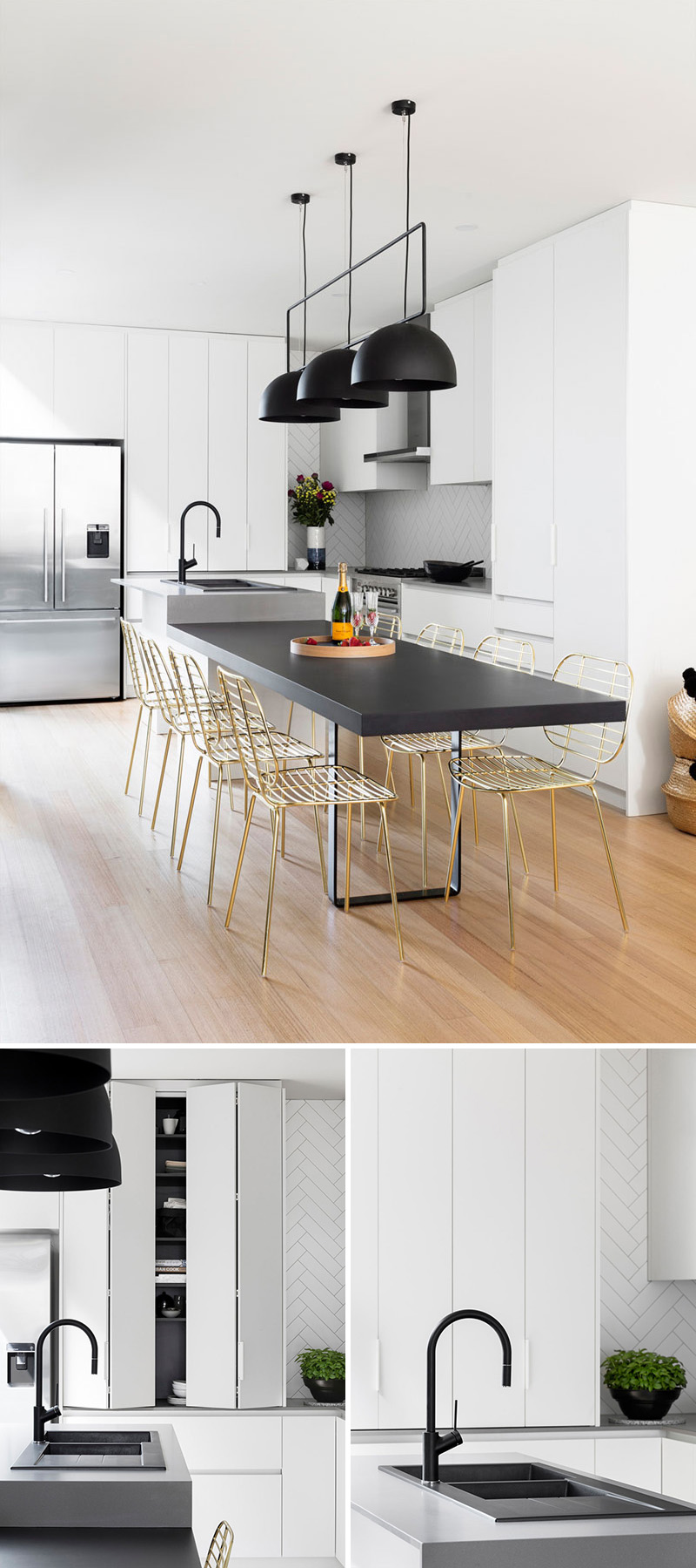 Modern Kitchen Design Elements This Modern Kitchen Update Received Touches Of Black And Gold