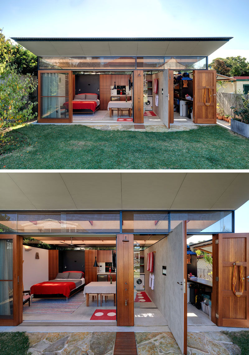 Backyard Shower This Impressive Backyard Shed Combines Living Quarters A Bathroom