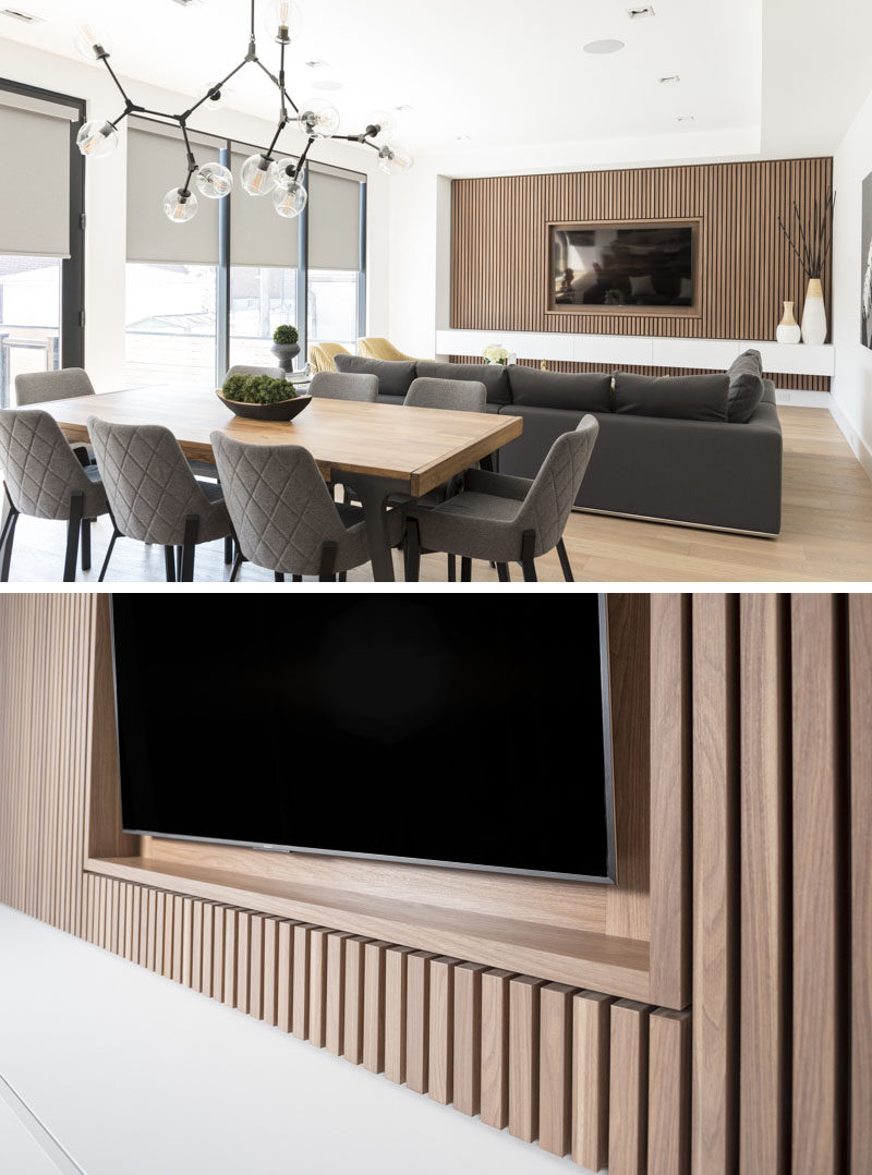Wood Wall Behind Tv Design Detail A Wood Slat Accent Wall Surrounds The Tv In This
