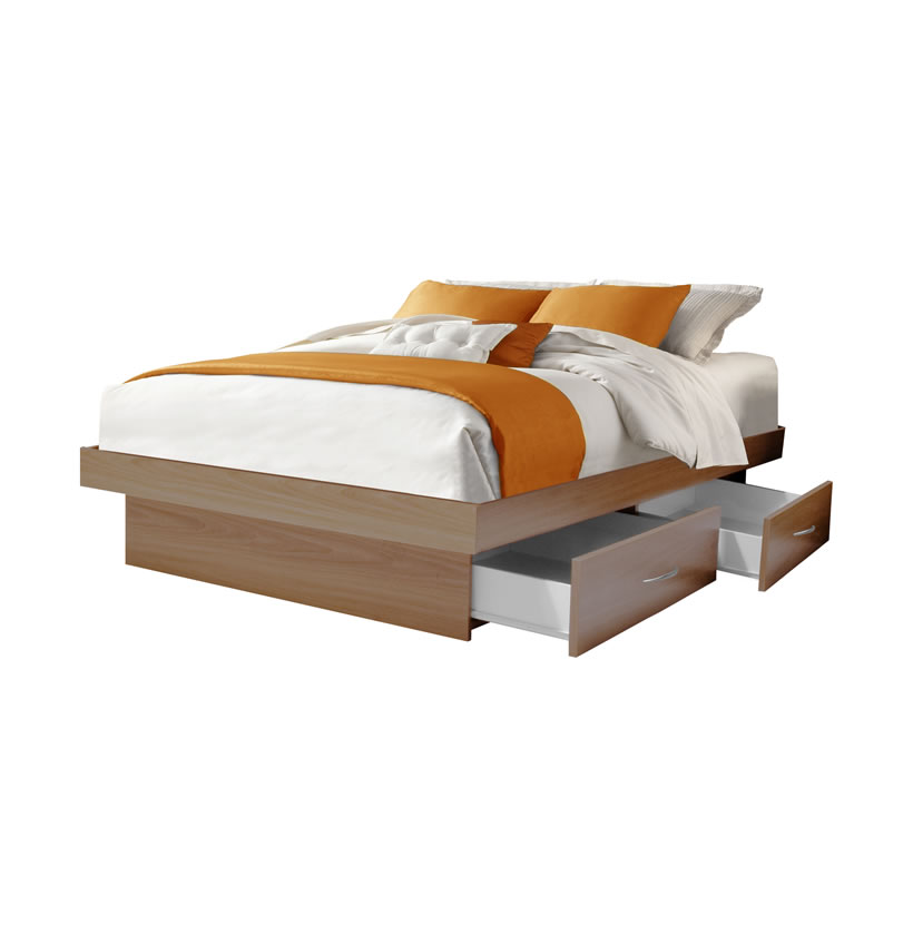 Platform Bed With Drawers Full Size Platform Bed With 4 Drawers | Contempo Space