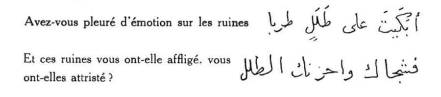 """Did you cry with emotion on the ruins? And these ruins afflicted you. Did they sadden you?"" Excerpt from ""Origine de la Musique Arabe"", L'Egyptienne, October-November 1926, p.59, accessed September 13th, 2016"