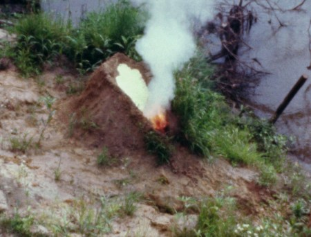 "Still from Ana Mendieta's Volcán, 1979.  From Bhanu Kapil's blog post on Sep 20, 2016 with caption: ""This image comes closest to what I could not speak in Ban."""