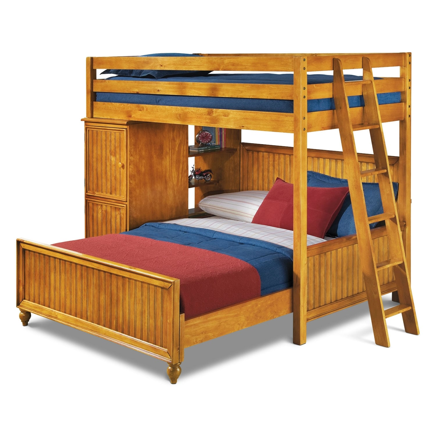 Colorworks Loft Bed With Full Bed Honey Pine American