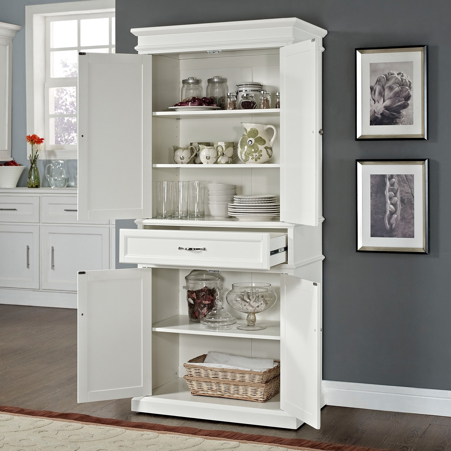 Kitchen Storage Cabinets At Target Midway Pantry White American Signature Furniture