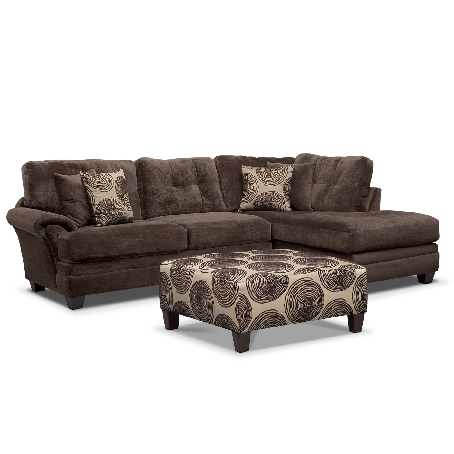 Chaise Cocktail Cordelle 2 Piece Sectional With Right Facing Chaise And Cocktail Ottoman Set Chocolate