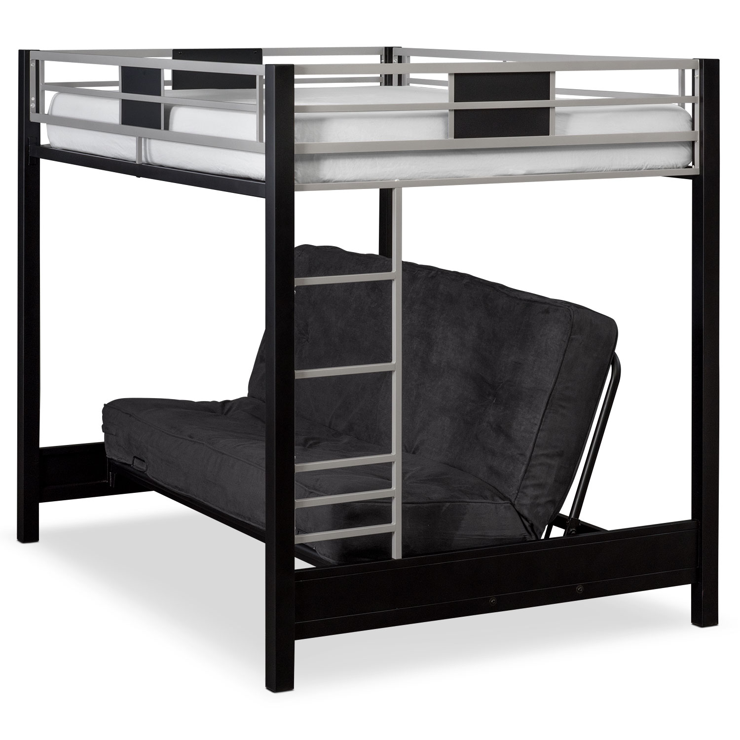 Black Loft Bed Samba Full Futon Bunk Bed With Black Futon Mattress
