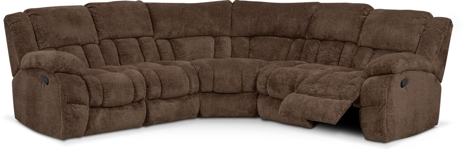Alpha Sofa Group Turbo 5 Piece Reclining Sectional