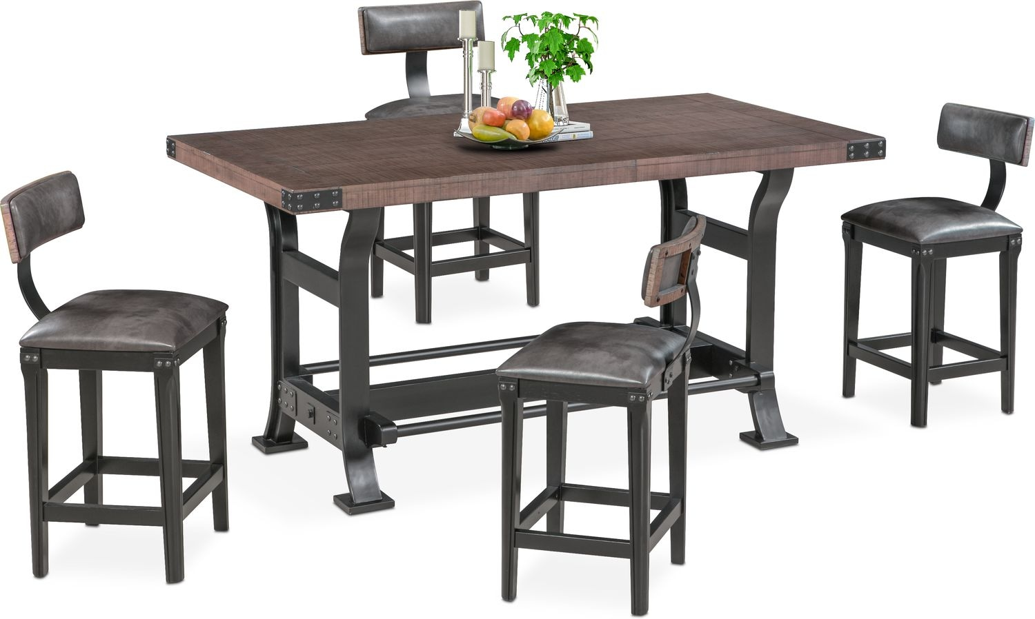 Newcastle Counter Height Dining Table And 4 Stools Gray