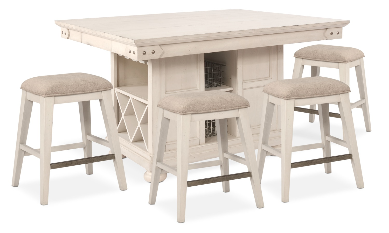 Table And Bar Stools New Haven Counter Height Kitchen Island And 4 Backless Stools