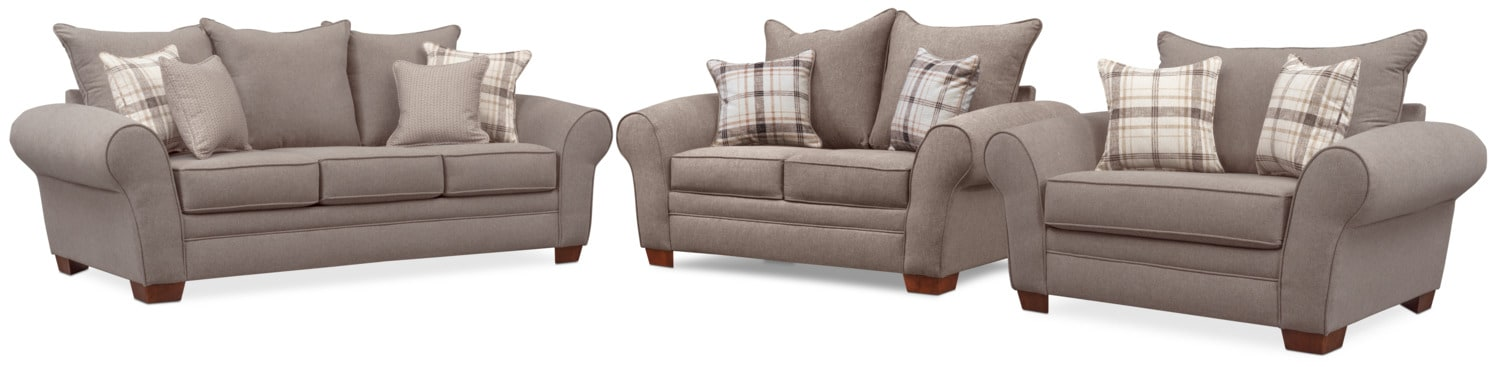 Grey Half Couch Rowan Sofa Loveseat And Chair And A Half Set Gray